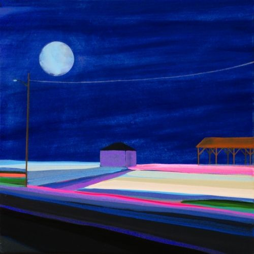 """Grant Haffner """"Full Moon over Maidstone Pavilion""""  Oil on wood panel, 2011  12 x 12 inches Signed, titled and dated verso"""