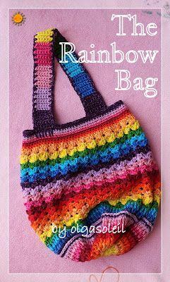 Rainbow Bag - Free Crochet Pattern - (ravelry) ༺✿ƬⱤღ  http://www.pinterest.com/teretegui/✿༻