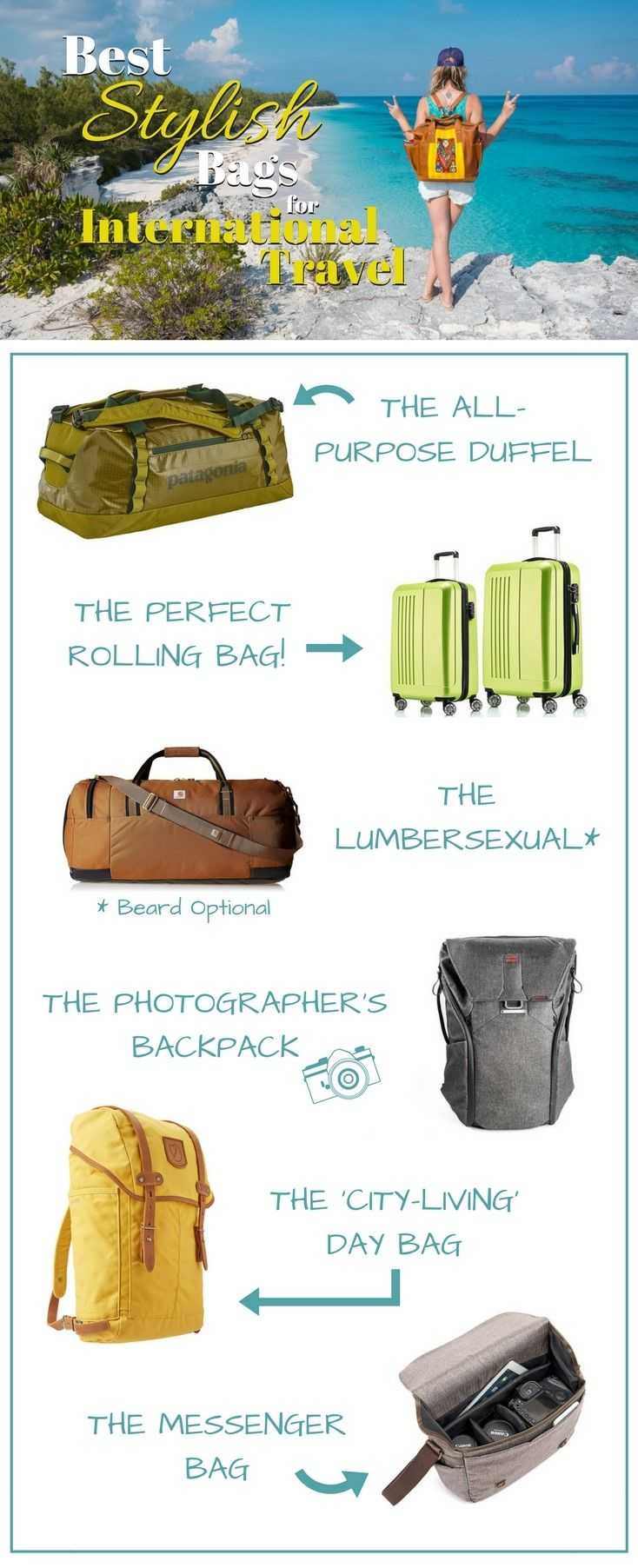 "Best Stylish Bags for International Travel. Being a ""Backpacker"" is cool when you're 19 and on your gap-year. But If you're a bit older and looking for the perfect piece of travel luggage that has a bit more style and class try out these options. By Wandering Wheatleys (@wanderingwheatleys) #Travel #Luggage #Packing #TravelTips #PackingTips #WanderingWheatleys"