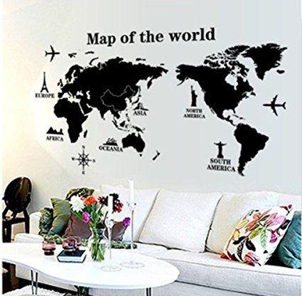 Sticker da muro con la mappa del mondo, aerei e destinazioni di viaggio.  Per arredare la casa di un viaggiatore