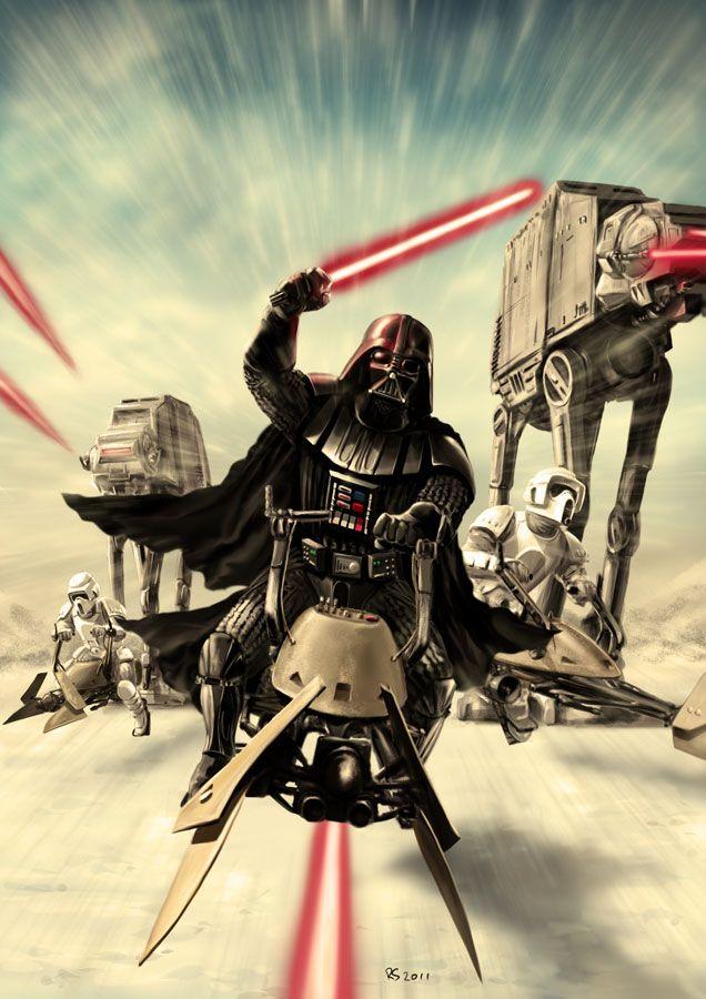 Darth Vader - Speeder Bike Attack by rhymesyndicate.deviantart.com