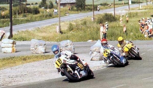Graziano Rossi, Wil Hartog and Kenny Roberts at Imatra (Finland) 1979.