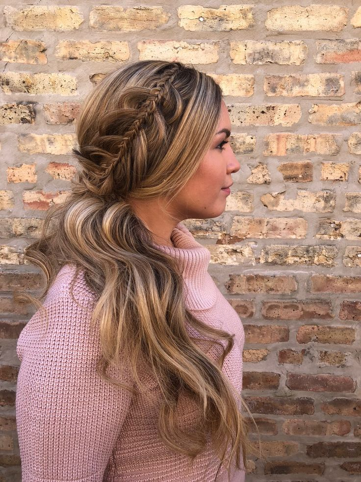 braid inception | hair by goldplaited | braid inside a braid | boho chic ponytail with waves to the side | #promhair #braided #unique #hairstyle#ponytail