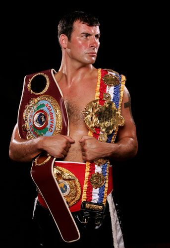 Undefeated world super-middleweight and light-heavyweight boxer Joe Calzaghe announced his retirement after reigning as a world champion for more than 11 years, quitting with a record of 46 wins from 46 fights. Photograph: John Gichigi/Getty Images