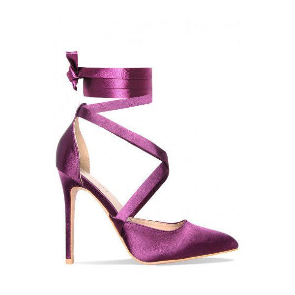 Thea Purple Satin Lace Up Court Shoes : Simmi Shoes (€40) ❤ liked on Polyvore featuring shoes, pumps, laced up shoes, purple pumps, laced shoes, lace up pumps and purple shoes
