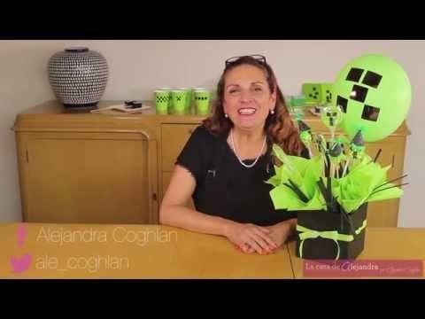 La casa de Alejandra: Centro de Mesa con Dulces y Globos de Fiesta de Minecraft DIY Alejandra ...