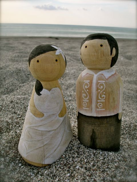 Custom Filipino Wedding Wooden Cake Toppers by yellowbuglove