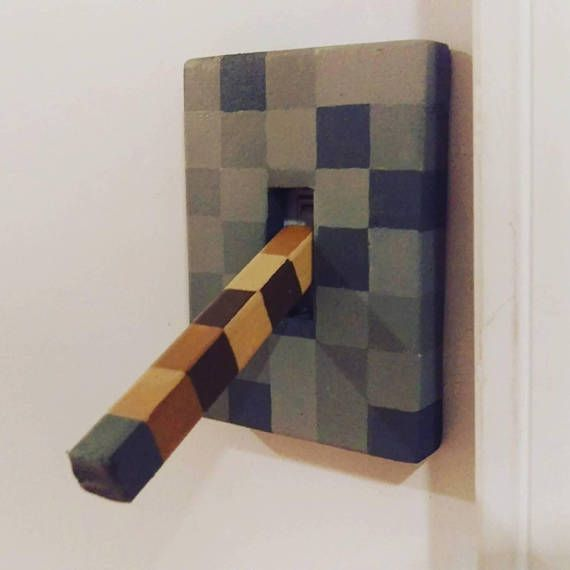 lever light switch Minecraft style – for boys or girls bedroom bathroom decorating decor decorations