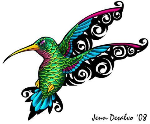 Humming Bird Tattoos: Tribal