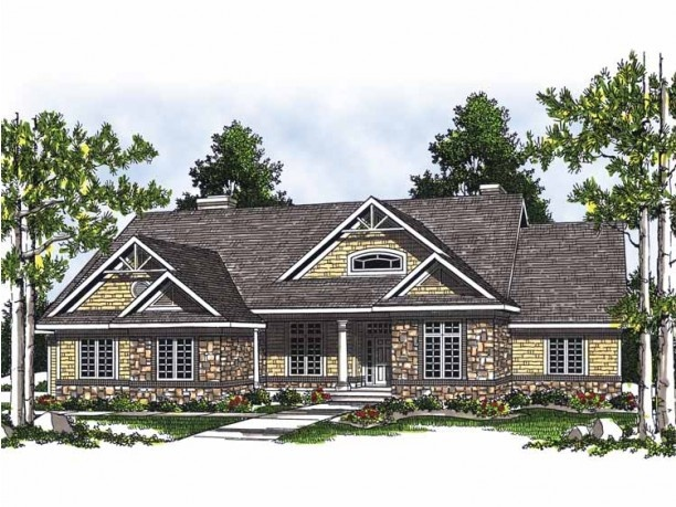 Ranch w walkout basement dream home exteriors for Craftsman style house plans with basement
