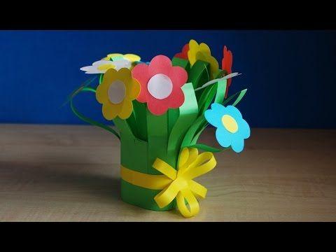 DIY букет для мамы. Цветы из бумаги своими руками. Поделки на 8 марта в детский сад и школу. - YouTube