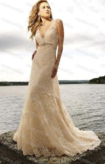 Vestido De Noiva 2015 Custom Made Champagne Beading Sash Lace Wedding Dress Vestido De Casamento-in Wedding Dresses from Weddings & Events on Aliexpress.com | Alibaba Group