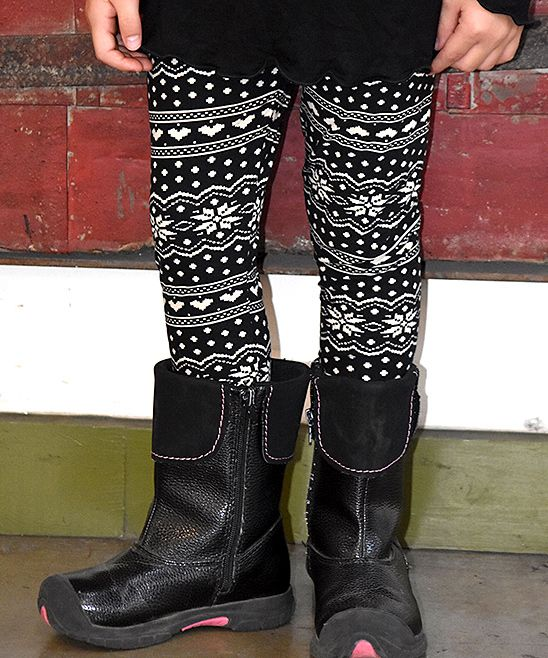 Black & White Snowflake Leggings - Toddler & Girls