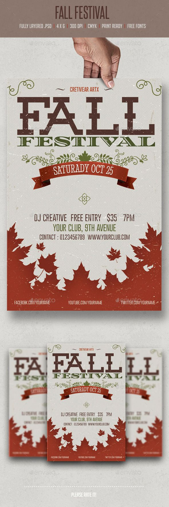 Fall Festival Flyer | Live Preview and Download: http://graphicriver.net/item/fall-festival/8939571?WT.ac=category_thumb&WT.z_author=creativeartx&ref=ksioks