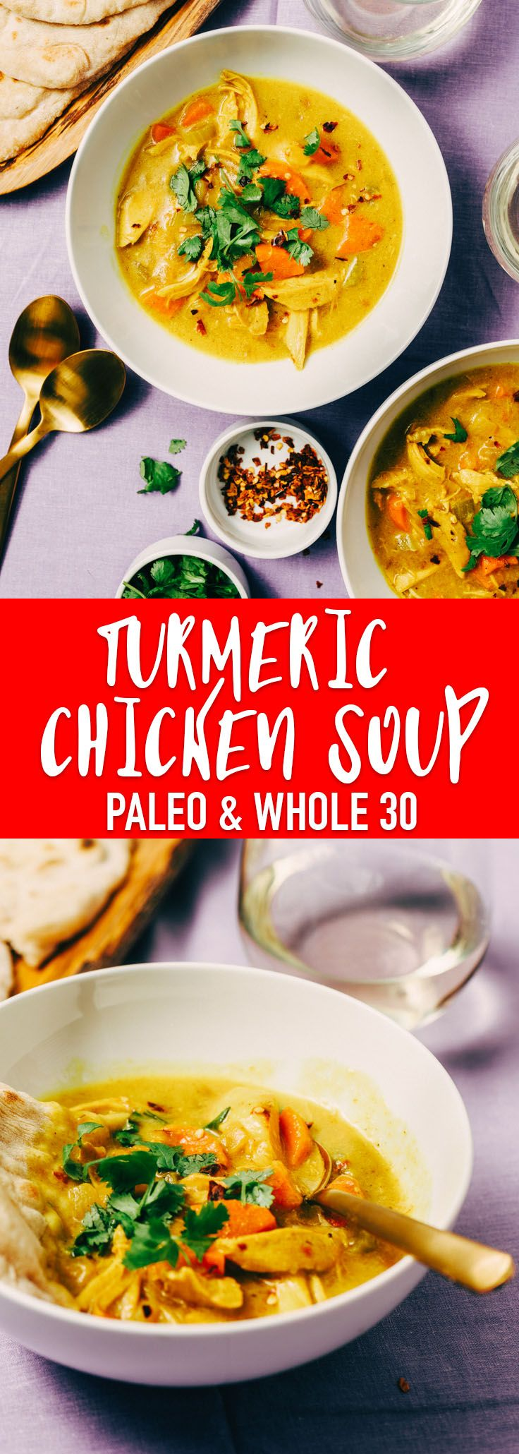 The tang and spice of fresh turmeric root really shines in this easy weeknight turmeric chicken soup. It's naturally gluten-free, paleo, and whole 30 compliant. #turmeric #chickensoup #paleo #whole30 #recipe #realfood #wholefoods