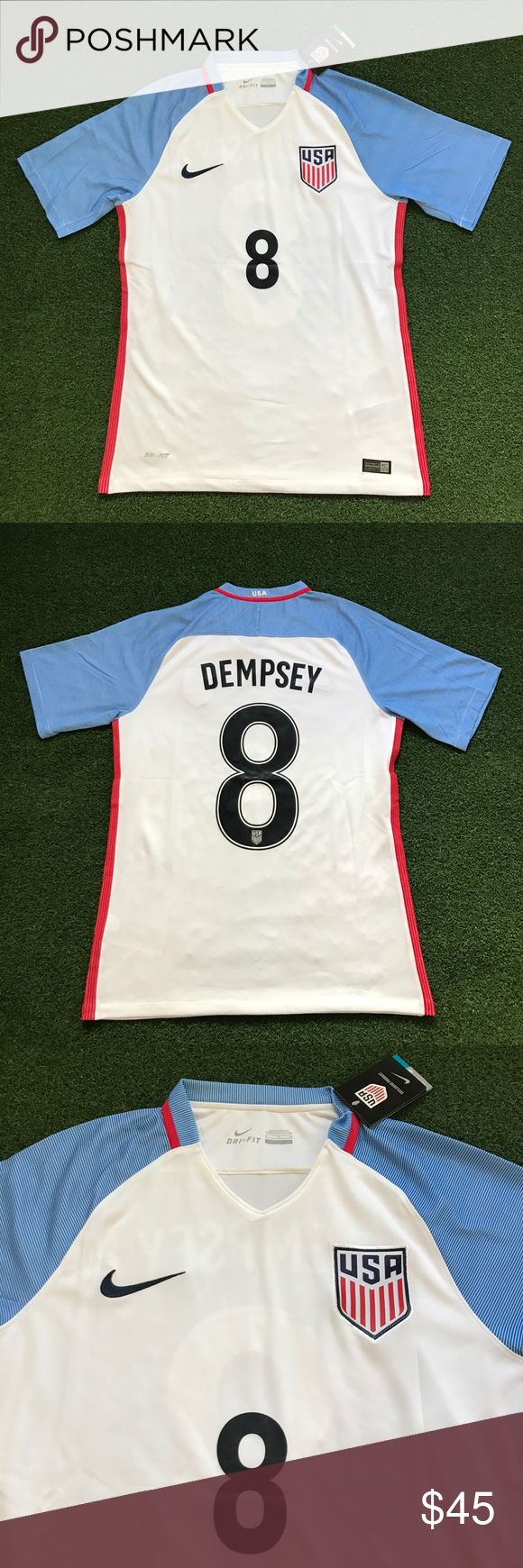 DEMPSEY USA Soccer Jersey white home short sleeve New with tags! 2016-2017 white home USA men's national soccer / futbol team short sleeve jersey with blue sleeves and DEMPSEY #8 on back! Clint Dempsey - World Cup 2018 - United States of America Shirts Tees - Short Sleeve
