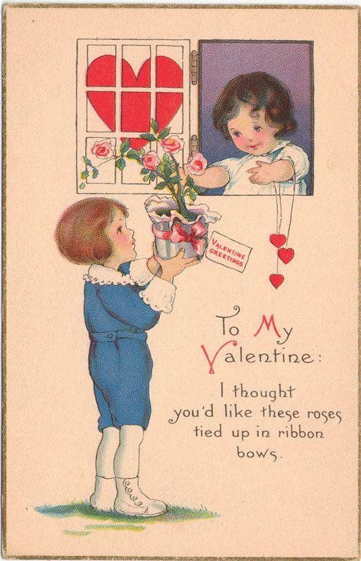 Vintage Valentine Postcard, Boy Giving Roses to Girl ...