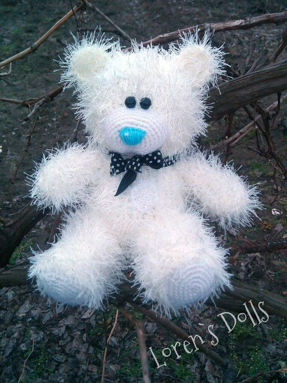 White Hand knitted Teddy Bear by LorensDolls on Etsy  #Bears  #Handknitted  #TeddyBear  #knitted   #knitting #stuffedbear  #knittedtoys  #beargift  #handknittedtoy  #handmadegift  #birthdaygift  #uniquegift  #LorensDolls