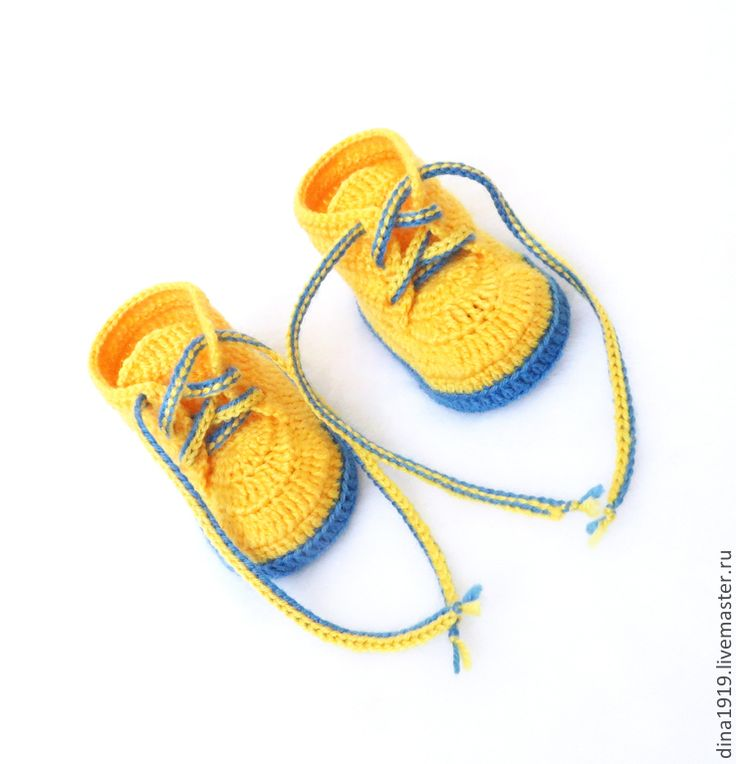 Купить пинетки для мальчика, пинетки вязаные, пинетки ботиночки, желтый - пинетки для мальчика, пинетки-кеды