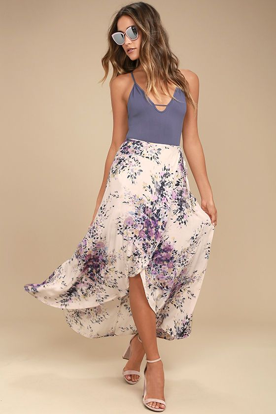 950e98ddcc1f The Right by Your Side Blush Pink Floral Print Wrap Midi Skirt will make  any day a good day! Lightweight woven rayon (with a blush pink, navy blue  and ...