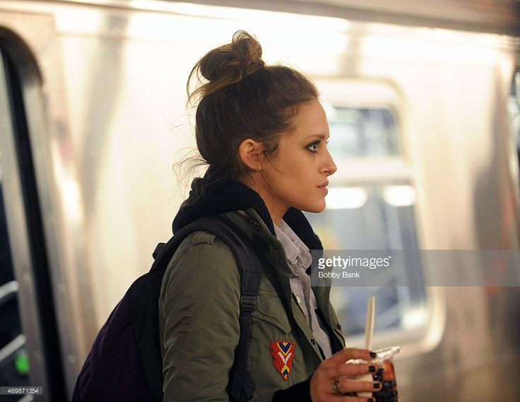 Carly Chaikin on the set of 'Mr. Robot' on April 15, 2015 in New York City.