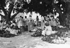 Item: Title: Fruit Market, Bridgetown, BarbadosPhotographer:Douglas Cornhill Publisher: Publisher#: Year: ca 1930 Height: 4.5 in Width: 6.5 in Media: acetate negative Color: B/W Country: Barbados Town: Bridgetown Notes: For information about reproducing this image, visit: THE CARIBBEAN PHOTO ARCHIVE