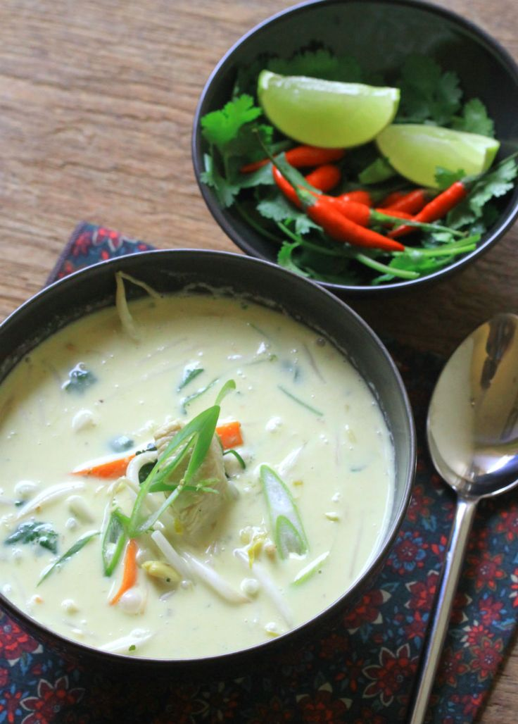 "Curried coconut chicken soup using the curry paste from ""For Foods Sake"""