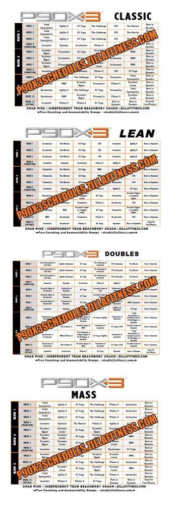 P90X3 Workout Schedules. Click photo to download PDF versions.  #p90x3 #p90x #tonyhorton