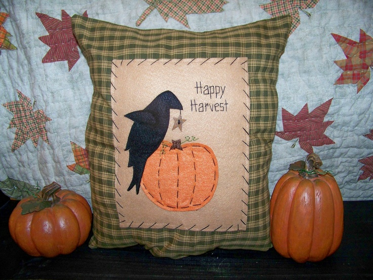 Primitive Fall Decor Crow Pumpkin Pillow Cover or Picture Country Home House Decor Prim Decoration Harvest Autumn Penny Rug UNSTUFFED. $15.49, via Etsy.