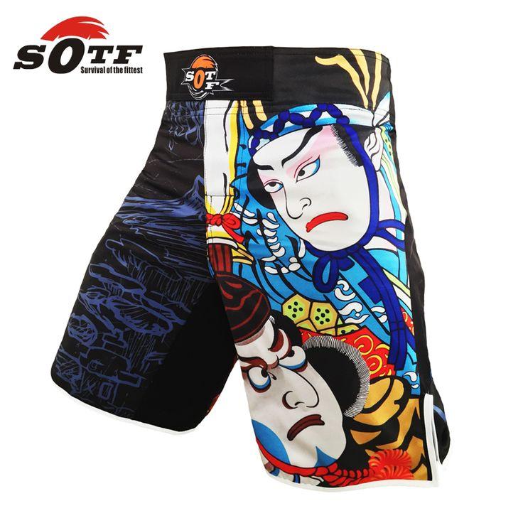 SOTF Real-printing Boxing Shorts MMA grappling short arm Fight Boxing mma fight shorts bad boy sanda muay thai clothing M-XXXL #Affiliate