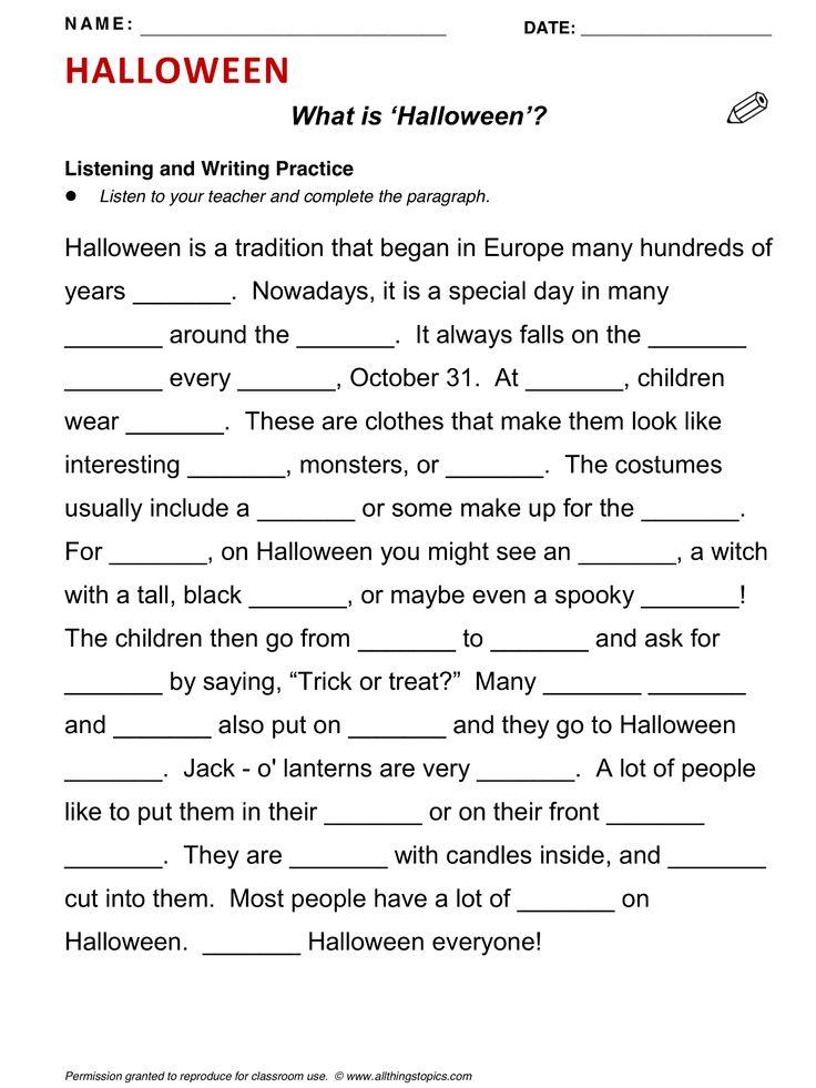 Printable Worksheets halloween esl worksheets : Halloween, English, Learning English, Vocabulary, ESL, English ...