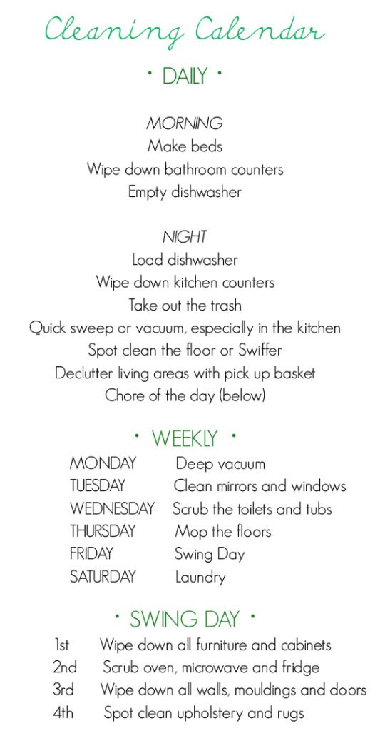 cleaning schedule. Now this I like!