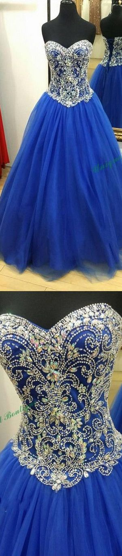 Custom Made Blue Sweetheart Neck Tulle Beaded Long Prom Dress, Evening Dresses - Sweetheart Girl Store Dresses