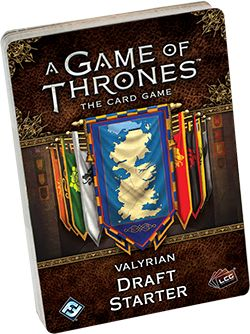 Game of Thrones LCG can now be played Draft Style  For those of you who are playing the Game of Thrones LCG, you have been well aware that there is not a draft option when playing the game, but not anymore.  Fantasy Flight Games is releasing a Valyrian Draft Starter and a Draft Pack for the game, now allowing for you to play the game draft style.  How it works is that the draft starter will have the basic cards you would need in any deck and some generally useful cards to round it... [more]