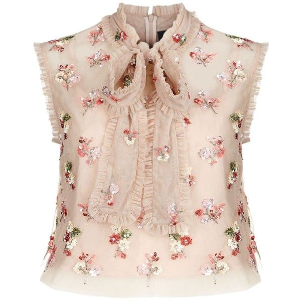 Needle & Thread Ditsy Bow Tie Neck Crop Top found on Polyvore featuring tops, cropped tops, bow crop top, pink crop top, flower top and neck ties