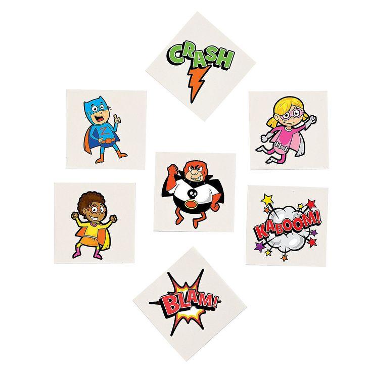 SUPERHERO PARTY FAVOUR ~ Superhero - Temporary Tattoo - pack of 36 | eBay