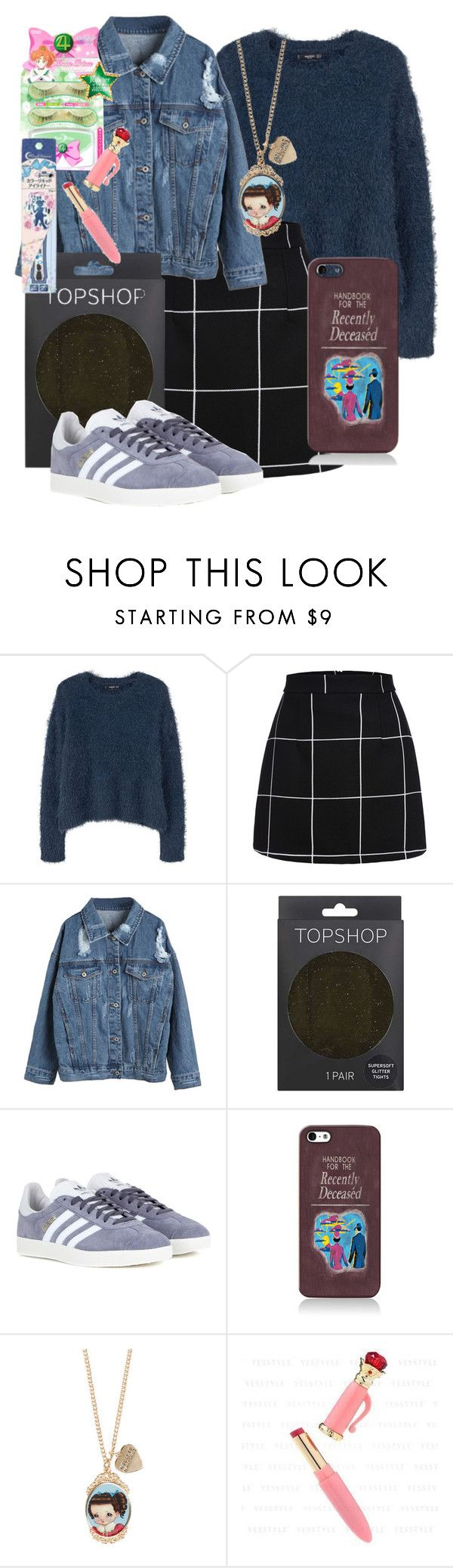 """style this trending item"" by xcheerio-kierox ❤ liked on Polyvore featuring MANGO, WithChic, Topshop and adidas"