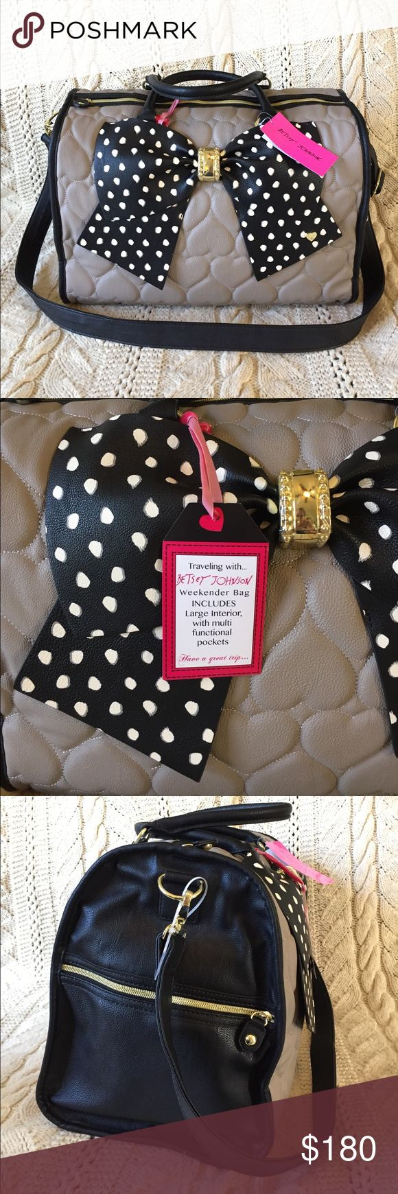 """Betsey Johnson heart quilted bow weekender duffel Super cute Betsey Johnson tan/gray heart quilted big bow weekender duffel.  Measures 18""""Lx12.5""""Hx9.5""""W, strap is adjustable.  NWT! Betsey Johnson Bags Travel Bags"""
