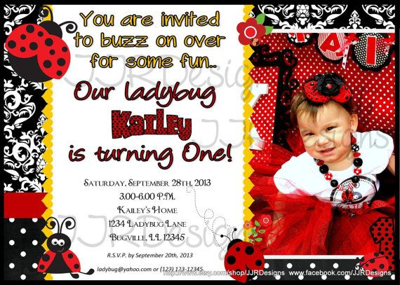 Ladybug Invitation Invite DIYInvitationBlack Red by JJRDesigns, $14.00