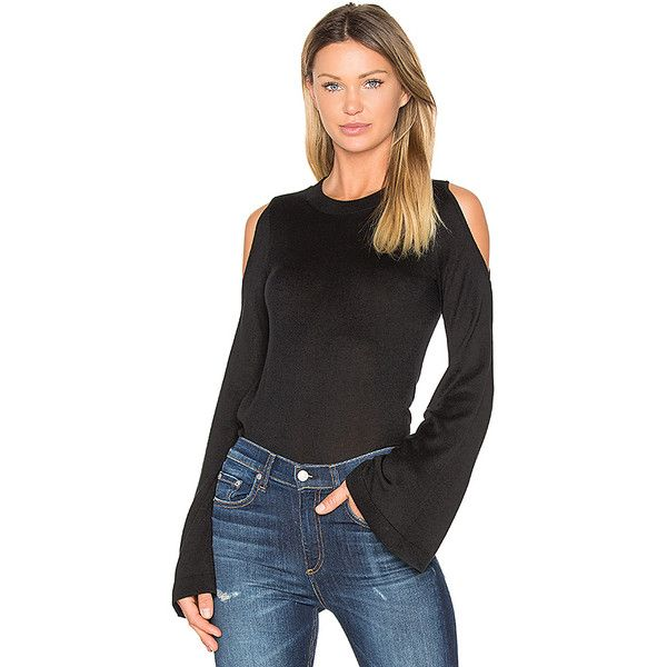 DEREK LAM 10 CROSBY Bell Sleeve Cut Out Shoulder Sweater ($345) ❤ liked on Polyvore featuring tops, sweaters, sweaters & knits, cutout shoulder sweater, cut-out sweaters, cutout tops, cut out shoulder top and cut-out tops