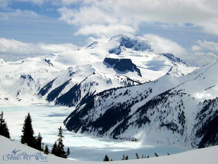 Mount Garibaldi, The Table and a Frozen Garibaldi Lake, Spring.
