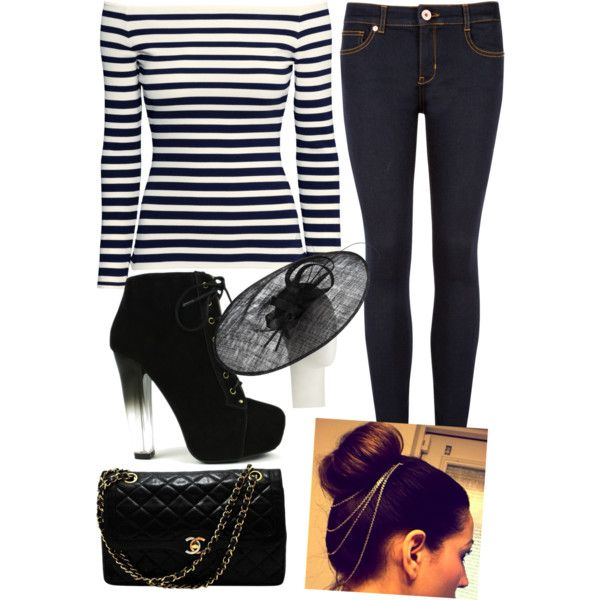 A fashion look from February 2015 featuring H&M tops, Ted Baker jeans and Fahrenheit ankle booties. Browse and shop related looks.