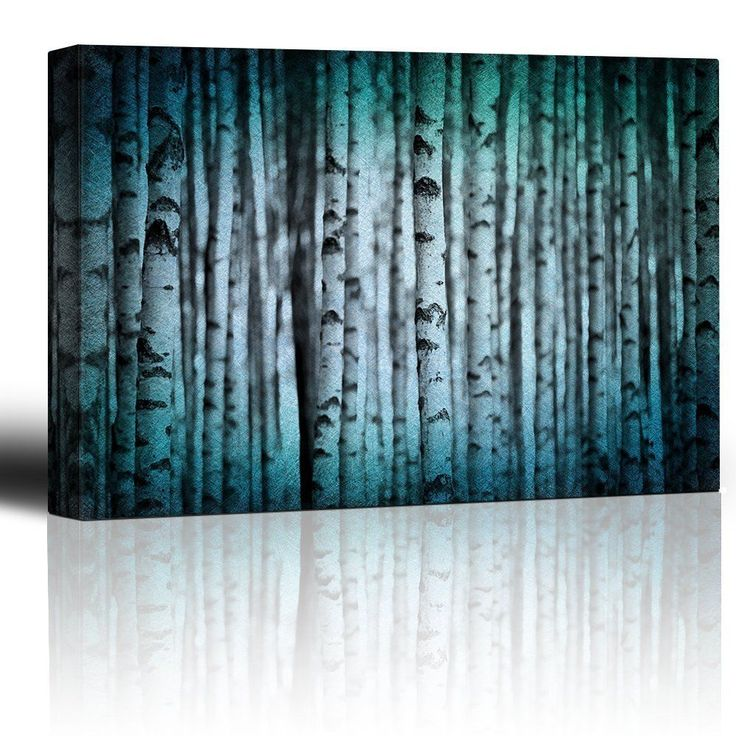 Canvas Print Wall Art Modern Home Decor - Trunks of Birch Trees in Black and to $28.2