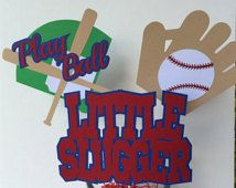 Baseball Theme Centerpiece Sticks - Set of 3 - 1st Birthday Party - Baseball Theme Baby Shower - Baseball Theme Party - Baseball Theme