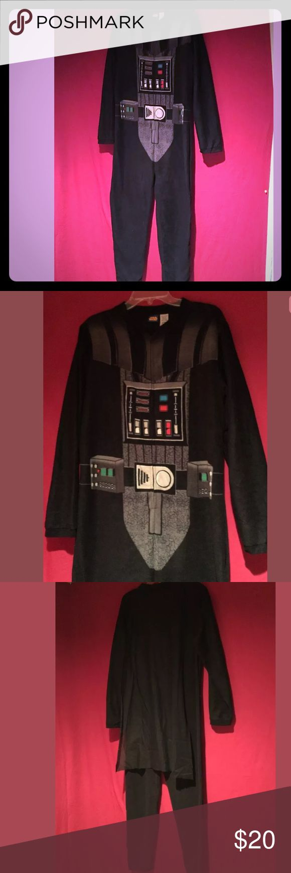 Star Wars Darth Vader Pajamas men's Medium NWOT Awesome onesie pajamas!   Star Wars official brand, Darth Vader.   Soft velvety feel.   Men's size Medium, would fit women's Large.  Cape on the back.   New without Tags. Intimates & Sleepwear Pajamas