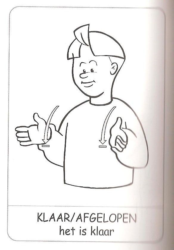 Klaar, gebarentaal.
