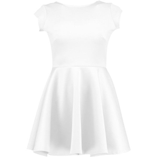Boohoo Petite Hailey Scuba Backless Skater Dress ($18) ❤ liked on Polyvore featuring dresses, skater dress, backless dresses, white skater dress, petite white dresses and petite cocktail dress