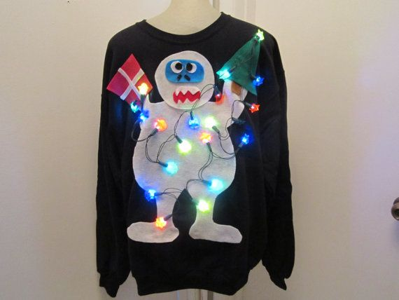 Ugly Christmas Sweater Light Up Snowman Ugly Christmas Sweater Rudolph Small Medium Large Xlarge Ships Quick Priority Mail with Tracking !
