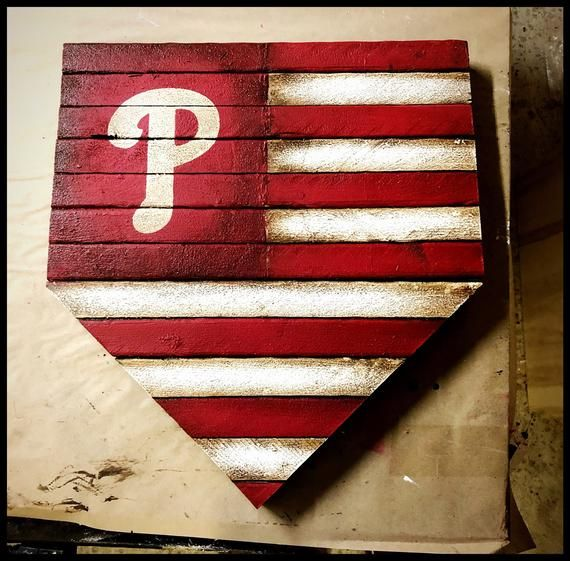 Philadelphia Phillies Home Plate Sign Phillies Flag Rustic Philadelphia Phillies Sign Wood