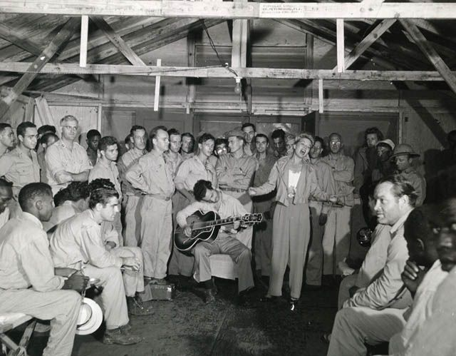 Bob Hope and Frances Langford 1944 entertain troops in the South Pacific